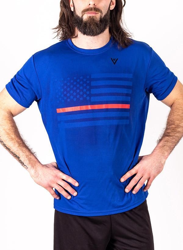 Men's Thin Red Line Short Sleeve Crew Neck Shirt