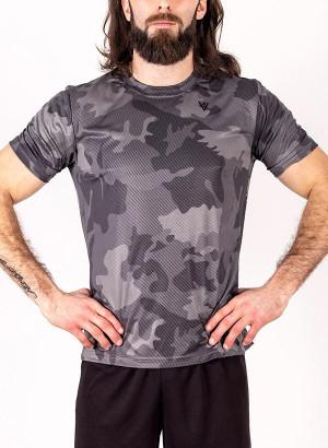 """Men's """"Faster, Better, Stronger"""" Short Sleeve Crew Neck Shirt - Black Laser Camo"""