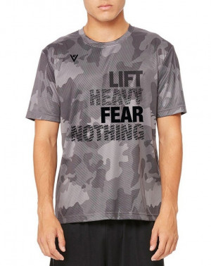 "Men's ""Lift Heavy, Fear Nothing"" Short Sleeve Crew Neck Shirt - Black Laser Camo"