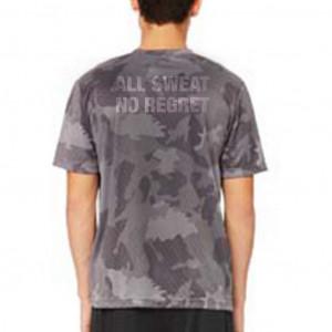 "Men's ""Lift Heavy, Fear Nothing"" Short Sleeve Crew Neck Shirt - Black Laser Camo"